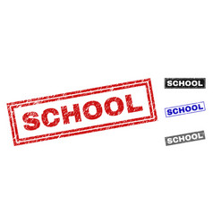 grunge school textured rectangle stamps vector image