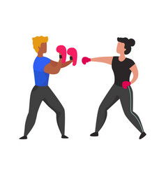 gym boxing training young people learning vector image