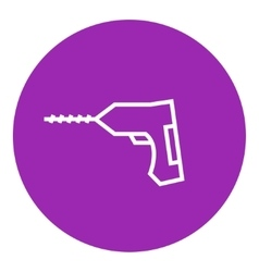 Hammer drill line icon vector