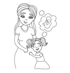 Happy kid girl hugging pregnant mothers belly vector