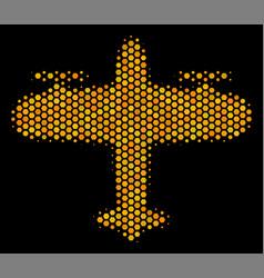 Hexagon halftone aircraft icon vector