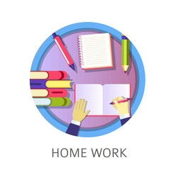 Home work student writing in textbook studying vector
