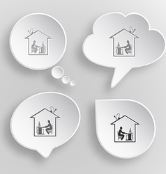 Home work White flat buttons on gray background vector image
