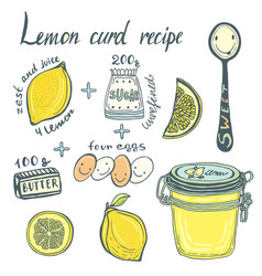 Homemade lemon curd recipe book page ingredients vector