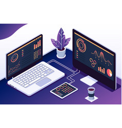 isometric 3d computers with statistics graphs and vector image