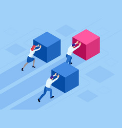 Isometric business people pushing cubes winner vector