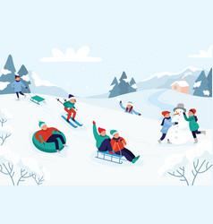 kids riding sledding slide snow landscape winter vector image