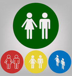 male and female sign 4 white styles of vector image