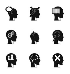 Man head with thoughts icons set simple style vector