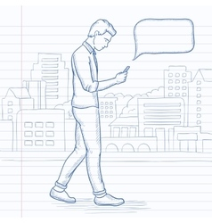 Man walking with smartphone vector image