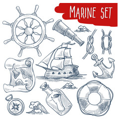 marine set sailing and ship voyage objects vector image