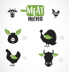 Meat menu icon vector