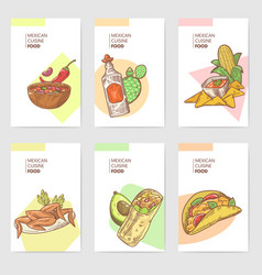 mexican food hand drawn brochure template set vector image vector image