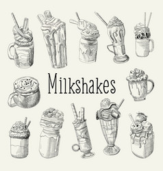 milkshake and ice cream hand drawn doodle vector image