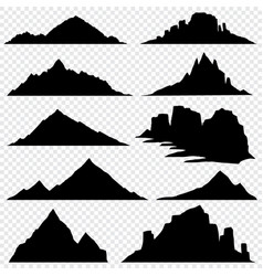 Mountain ranges black silhouettes set vector