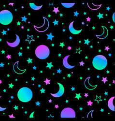 Mystical bright neon pattern with sun moon and vector