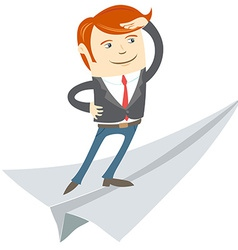 Office man flying on paper plane vector image