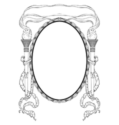 Oval frame with torch light ribbons for portrait vector