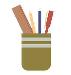 pen holder with school supplies or office vector image