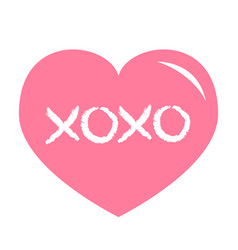 Pink heart shining icon xoxo phrase sketch saying vector