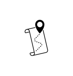 pointer icon and route map black on white vector image