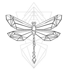 Polygonal dragonfly vector