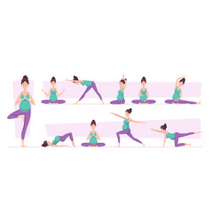 pregnant yoga woman sport poses relaxed vector image
