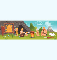 Prehistoric people at stone age concept vector