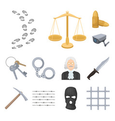 prison and the criminal cartoon icons in set vector image