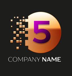 Purple number five logo in the golden pixel circle vector