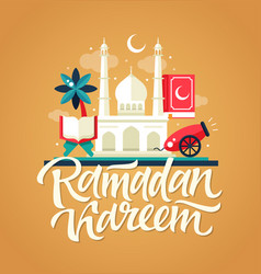 ramadan kareem - postcard template with mosque vector image