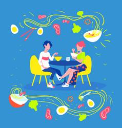 ramen concept men and women eat ramen on date vector image