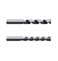 Realistic steel drill bits isolated on white vector
