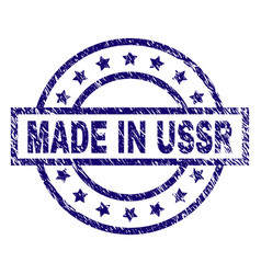 Scratched textured made in ussr stamp seal vector