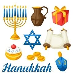 Set of jewish hanukkah celebration objects vector