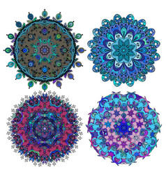 Set of round ethnic ornament vector