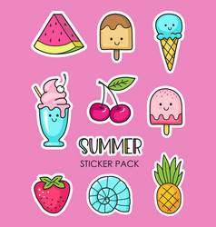 set summer stickers with ice cream berries vector image