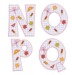 sheet alphabet letter n o p q vector image