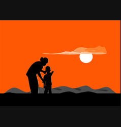 silhouette of mother and son standing at sunset vector image