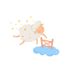Sleepy sheep surrounded by stars flying through vector