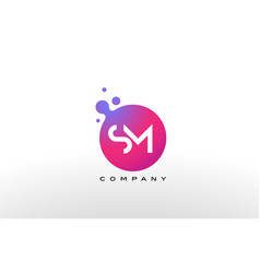 sm letter dots logo design with creative trendy vector image