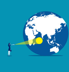 spotlight on the world concept business vector image