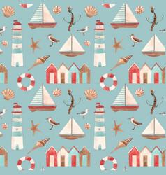 Watercolor marine pattern vector