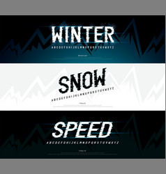 Winter snow modern alphabet fonts typography vector