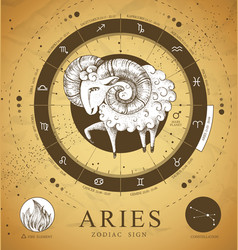 Witchcraft card with astrology aries zodiac sign vector