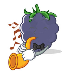 With trumpet blackberry character cartoon style vector