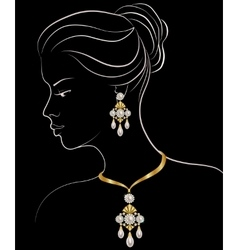 Woman with pearl necklace and earrings vector image
