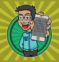 young man logo holding a mobile vector image