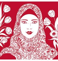 arab girl with tulips vector image