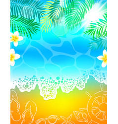 background sea beach vacation palm tree vector image vector image